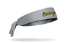 gray headband with Pittsburgh Pirates Pittsburgh script in yellow and black