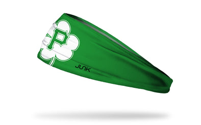 green headband with Pittsburgh Pirates logo on white shamrock