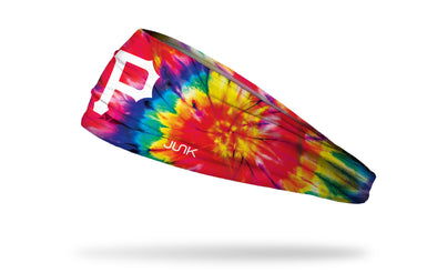 colorful tie dye headband with Pittsburgh Pirates logo in white