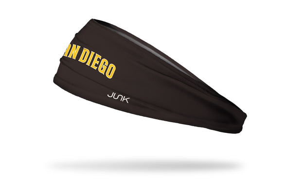 brown headband with San Diego Padres word logo in brown and yellow