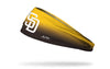 yellow to brown gradient headband with San Diego Padres logo in white