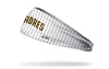 white pinstripe headband with San Diego Padres word logo in brown and yellow