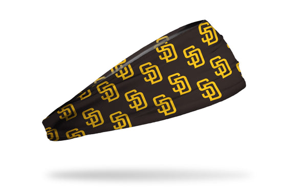 brown headband with San Diego Padres yellow logo repeating