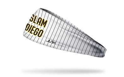 white headband with brown pinstripes and Slam Diego wordmark in San Diego Padres colors