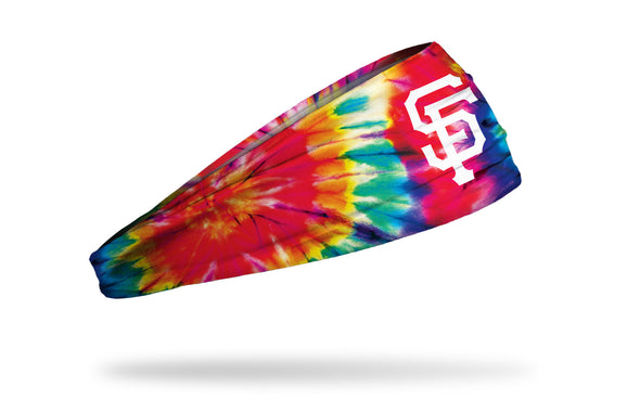 colorful tie dye headband with San Francisco Giants logo in white