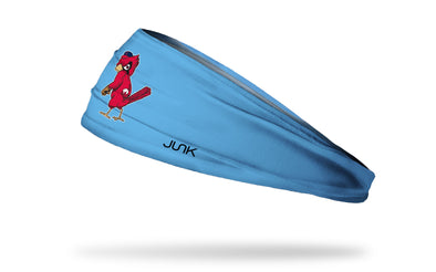light blue headband with St Louis Cardinals red bird logo