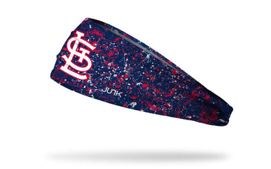 paint splatter headband with St. Louis Cardinals logo in white