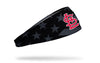 black and white american flag headband with St. Louis Cardinals logo in full color