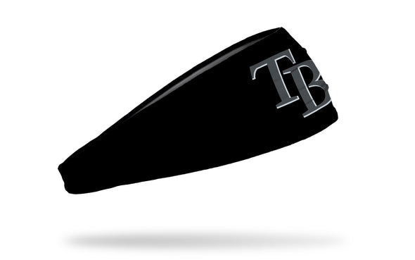 black headband with Tampa Bay Rays logo in grey / gray