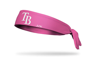 Pink headband with tampa bay rays logo in pink