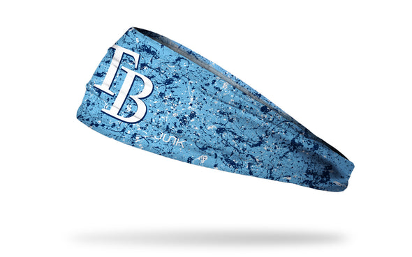 paint splatter headband with Tampa Bay Rays logo in white