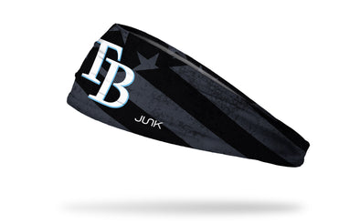 black and white american flag headband with Tampa Bay Rays logo in full color