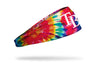 colorful tie dye headband with Tampa Bay Rays logo in white
