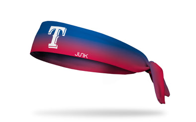 blue to red gradient headband with Texas Rangers logo in white