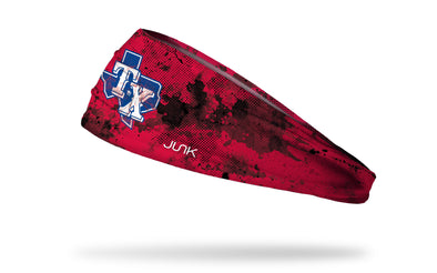 grunge overlay headband with Texas Rangers logo in white