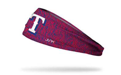 static headband with Texas Rangers logo in white
