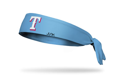 light blue headband with Texas Rangers T logo in red and white