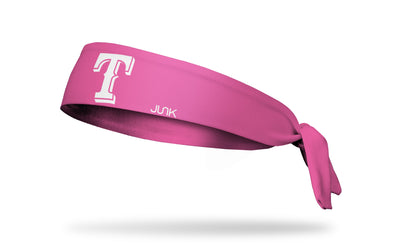 Pink headband with texas rangers logo in pink