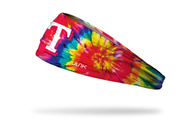 colorful tie dye headband with Texas Rangers logo in white
