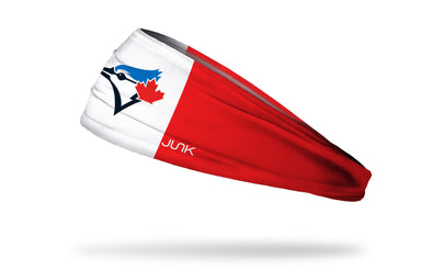 canadian flag print headband with Toronto Blue Jays logo in red white and blue