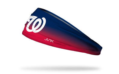 navy to red gradient headband with Washington Nationals logo in white