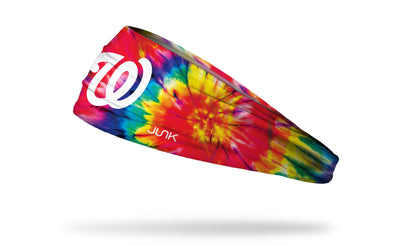 colorful tie dye headband with Washington Nationals logo in white