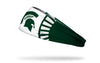white headband with Michigan State University spartan logo in green in center and spartan helmet design around