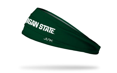 "green headband with Michigan State University ""Michigan State"" wordmark in white"