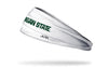"white headband with Michigan State University ""Michigan State"" wordmark in green"