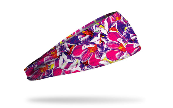 bright pink and purple headband with pattern of crocus iris lilacs spring flowers