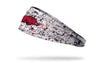 white headband with paint splatters and University of Arkansas logo