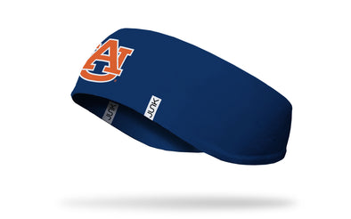 navy ear warmer with Auburn University A U logo in orange and white