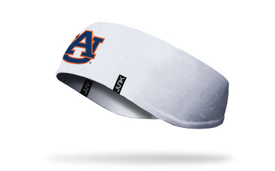 white ear warmer with Auburn University A U logo in orange and navy