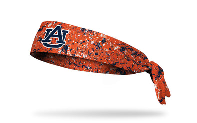orange paint splatter headband with Auburn University logo in navy