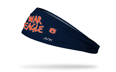 navy headband with Auburn University War Eagle wordmark in orange