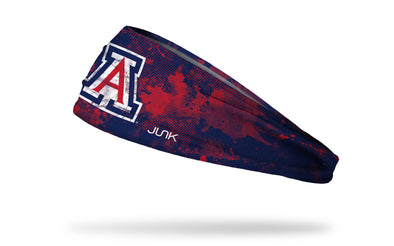 navy headband with red grunge overlay and University of Arizona A logo in red white and blue
