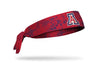 red headband with navy grunge overlay and University of Arizona A logo in red white and blue