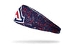 navy headband with red and white paint splatter and oversize University of Arizona A logo