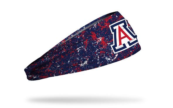 navy paint splatter headband with University of Arizona A logo in red white and blue