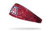 red paint splatter headband with University of Arizona A logo in red white and blue