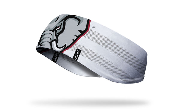 white ear warmer with grey line overlay and University of Alabama Big Al elephant mascot in crimson red and grey