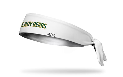 white headband with Baylor University Lady Bears wordmark in green