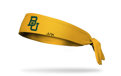 gold headband with Baylor University B U logo in green