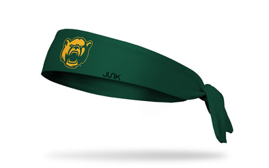 green headband with Baylor University bear mascot logo in gold