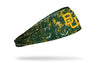green headband with gold paint splatter and Baylor University B U logo in gold