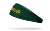 green headband with Baylor University Baylor wordmark in gold