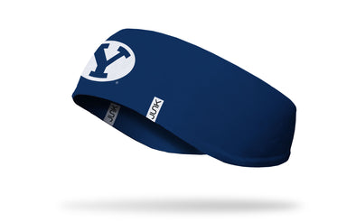 navy ear warmer with Brigham Young University Y logo in white