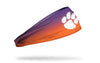 gradient purple to orange headband with Clemson University paw print logo in white