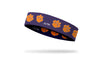 purple headband with Clemson University paw print logo repeating in orange