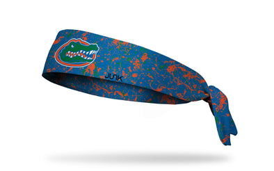 University of Florida blue headband with paint splatter overlay